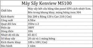 Thông số kỹ thuật máy sấy Kenview Ms100