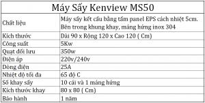 Thông số kỹ thuật máy sấy hải sản Kenview Ms50